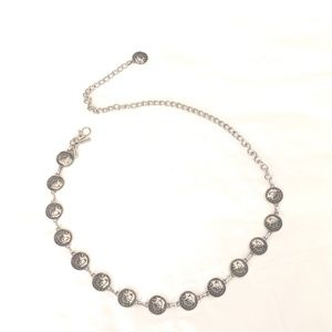 CHICO'S Coin chain belt silver